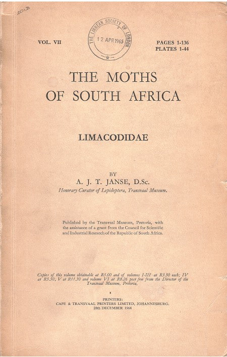 THE MOTHS OF SOUTH AFRICA, vol. VII, Limacodidae