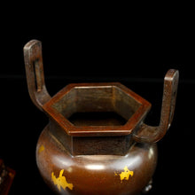 Load image into Gallery viewer, Antique Animal Cover Hexagonal Incense Burner 苏工兽盖六角铜炉