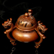 Load image into Gallery viewer, Antique Three Dragon Foot Copper Incense Burner 仿古三龙足铜炉