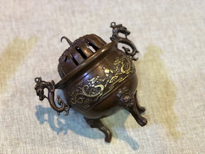 Antique Pixiu Incense Burner  三祥兽足铜炉