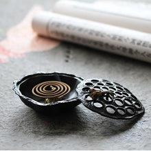 Load image into Gallery viewer, Antique Alloy Lotus Incense Burner 仿古黑色莲蓬香炉