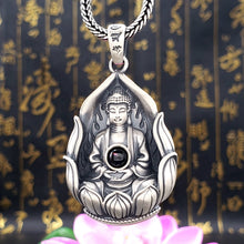 Load image into Gallery viewer, Antique Silver Buddha Pendant 复古纯银投影心中有佛吊坠
