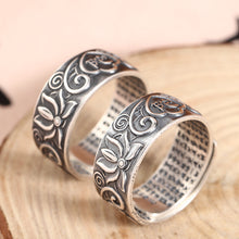 Load image into Gallery viewer, Antique Silver Lotus Ring 复古足银莲花戒