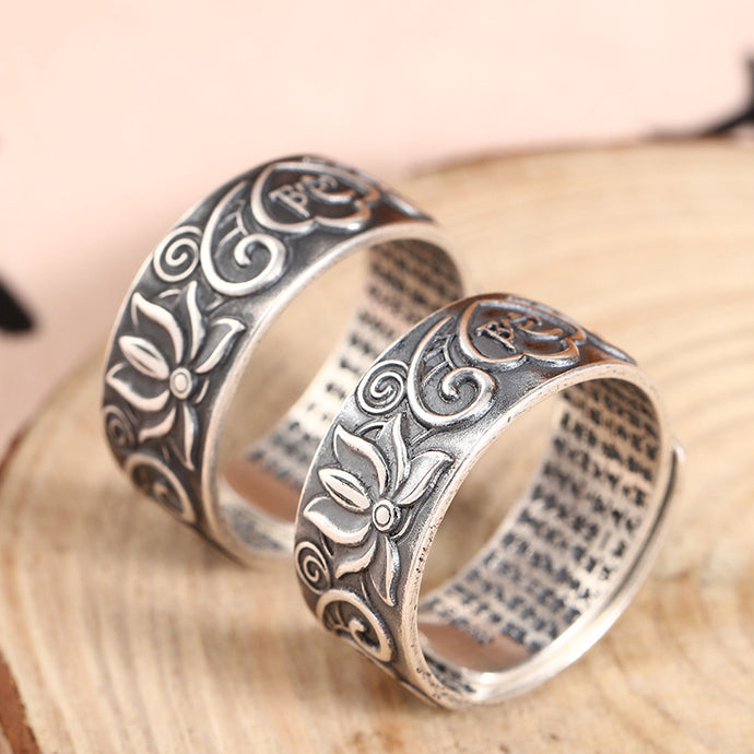 Antique Silver Lotus Ring 复古足银莲花戒