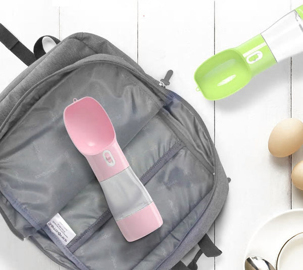 Portable Pet Water Bottle with Food Storage