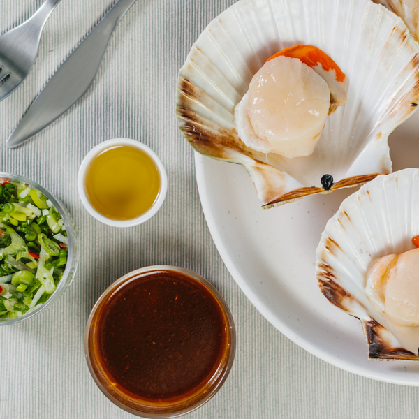 Scottish Scallops with Miso Dressing and Spring Onion Salad