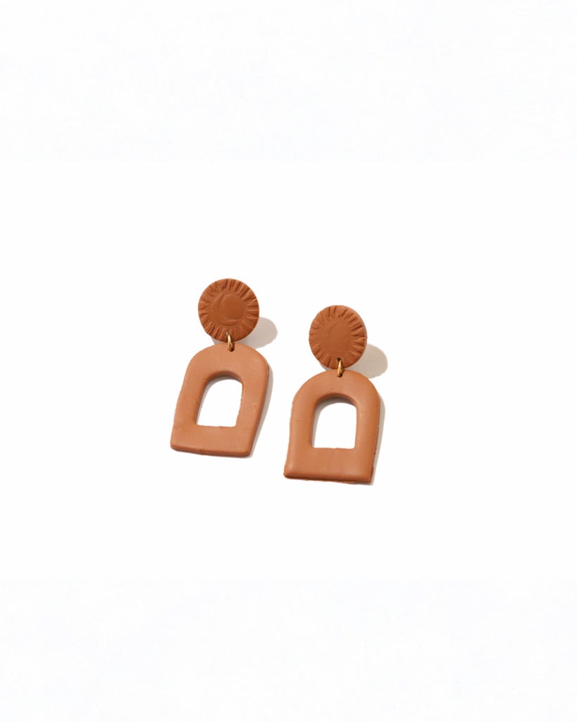 CLAY EARRINGS | LARGE TERRA COTTA