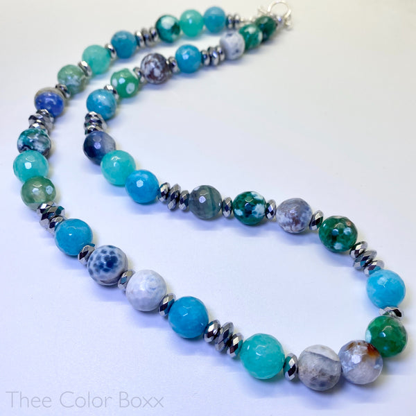 Aqua & Teal Gemstone Necklace
