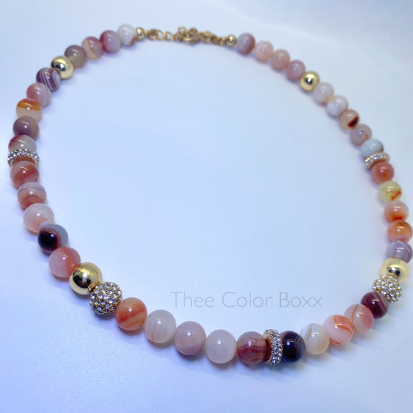 Mixed Agate & Gold Necklace