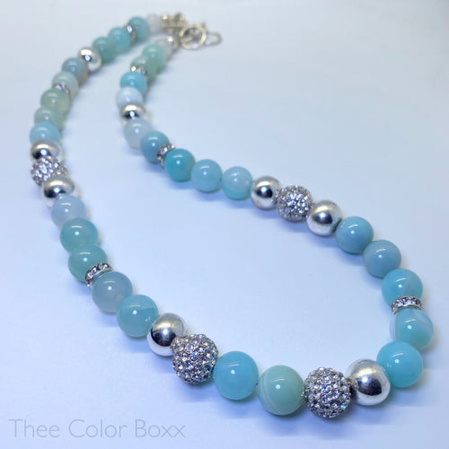 Sky Blue & Silver Agate Necklace