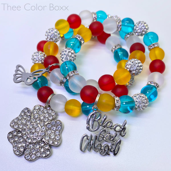 Colorful Black Girl Magic Bracelet Set