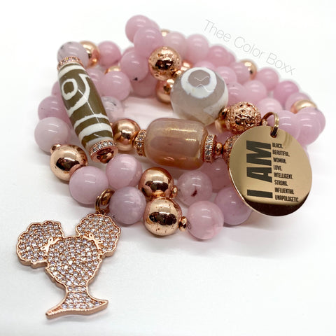 Rose Gold Proud Afro Girl Bracelet Set