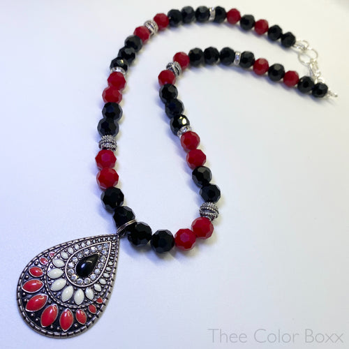 Black & Red Glass Necklace
