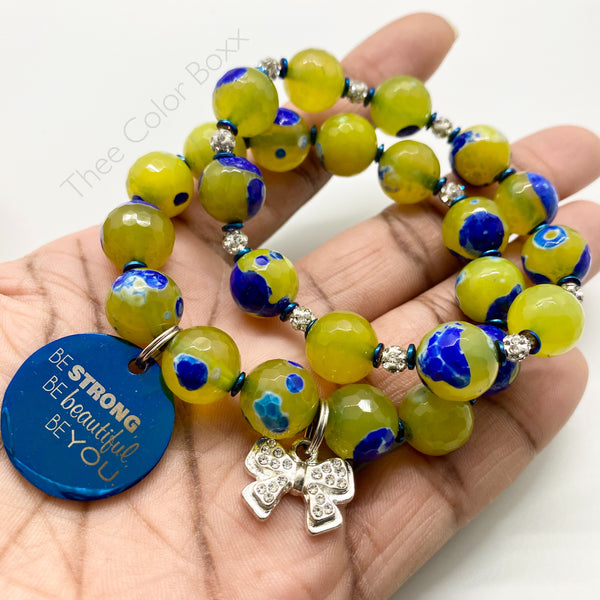 """Be Strong"" Lime Yellow & Blue Bracelet Set"