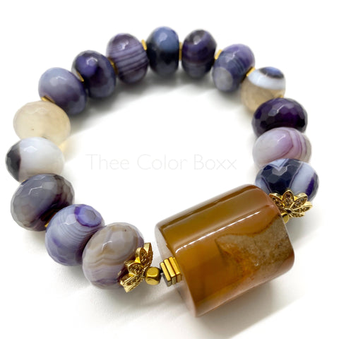 Orange and Purple Agate Bracelet