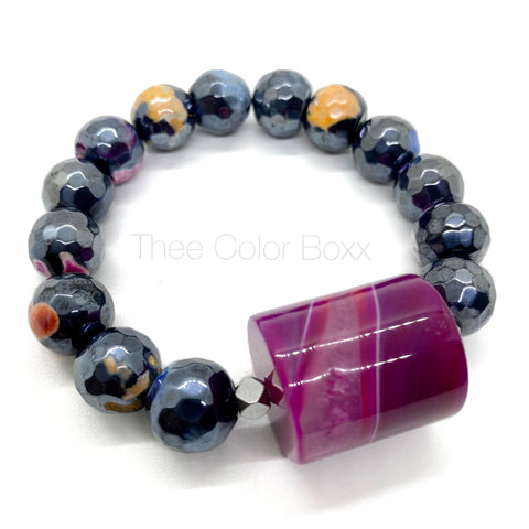 Big Mighty Agate Beaded Bracelet
