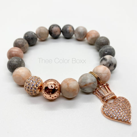 Rose Gold Heart & Crown Bracelet