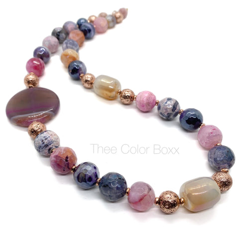 Rose Gold Chunky Agate Necklace