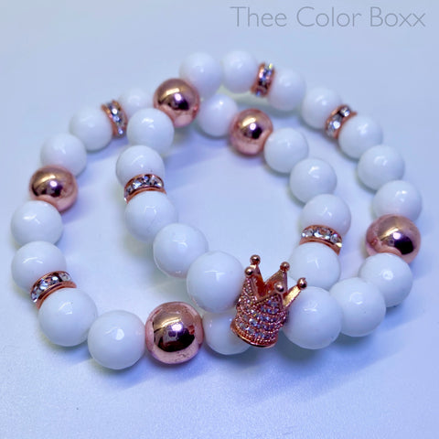 White & Rose Gold Crown Bracelet Set