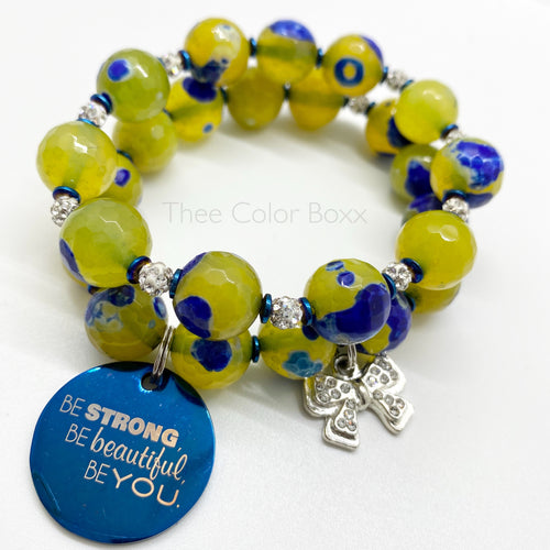 """Be Strong"" Lime Green & Blue Bracelet Set"
