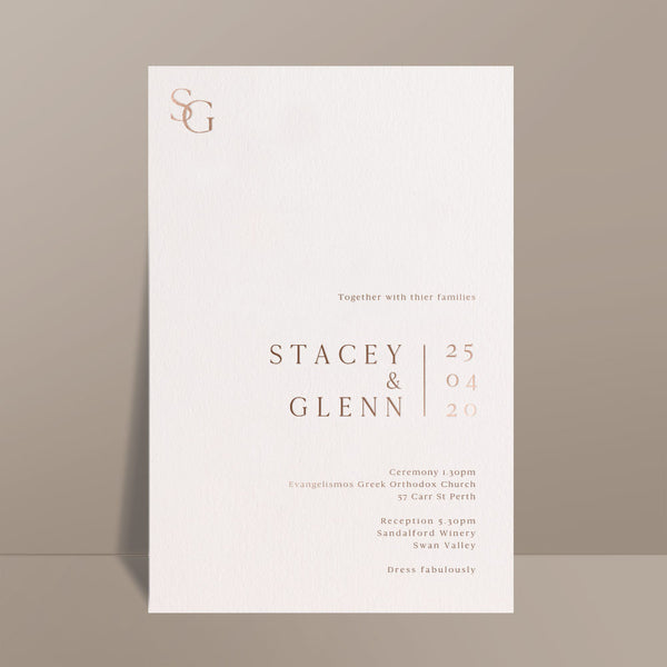 foil printed ivory modern wedding invitation