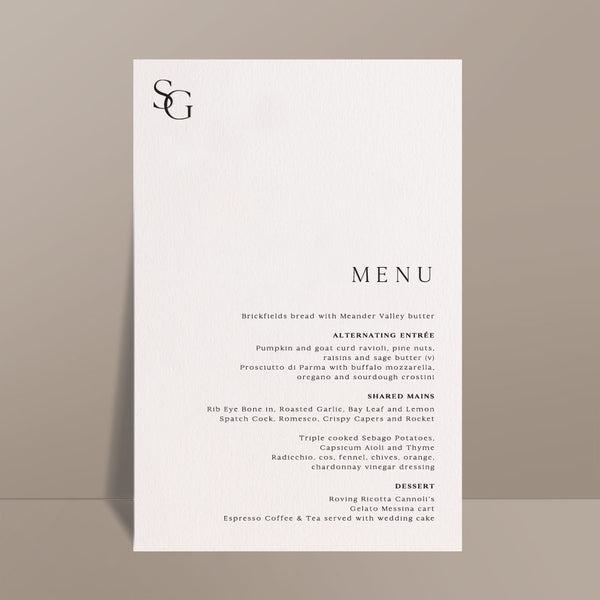 white rectangular menu card with black text