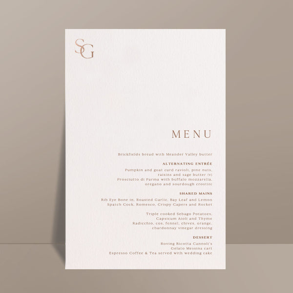 rectangular menu card