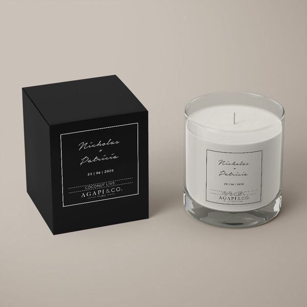 soy candle wedding favour black box