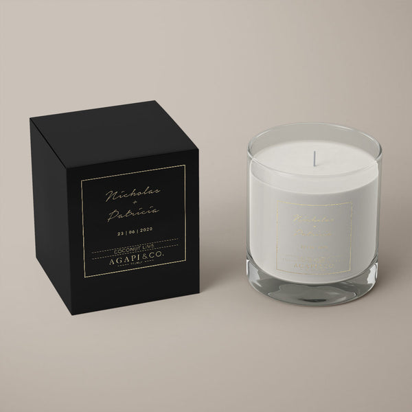 soy candle wedding favour black box gold foil transfer