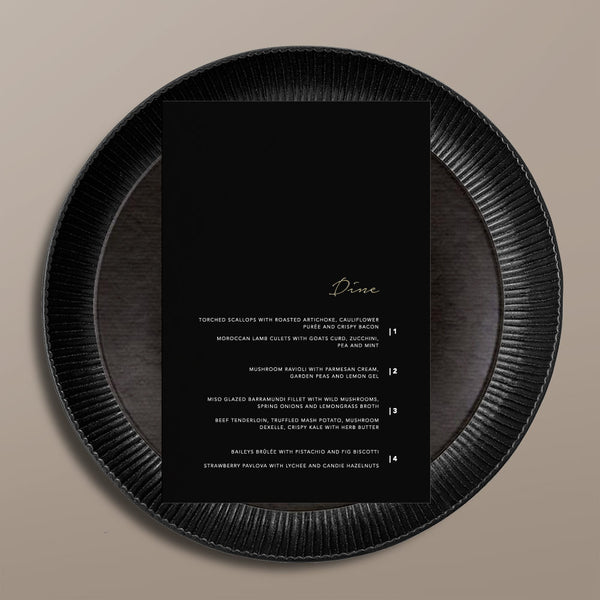 black rectangular menu card
