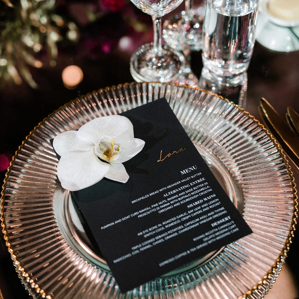 black personalised menu card