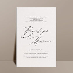ivory modern romantic wedding invitation