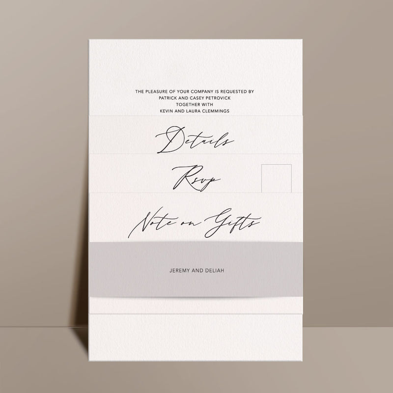 ivory wedding invitation suite with grey belli band