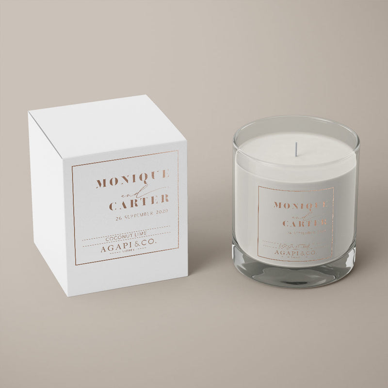 soy candle wedding favour white box