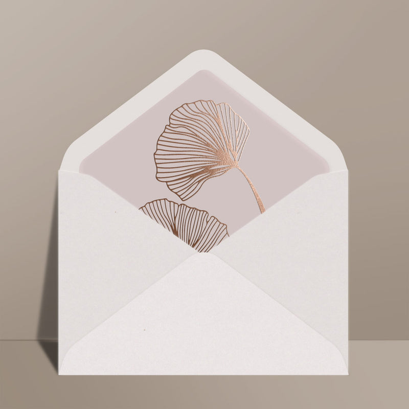foil transfer water lily leaf blush envelope liner