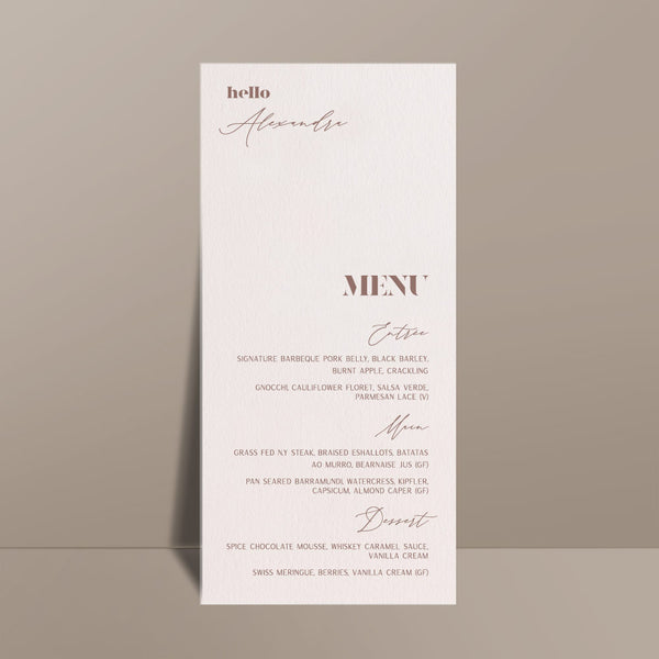 ivory rectangular personalised menu