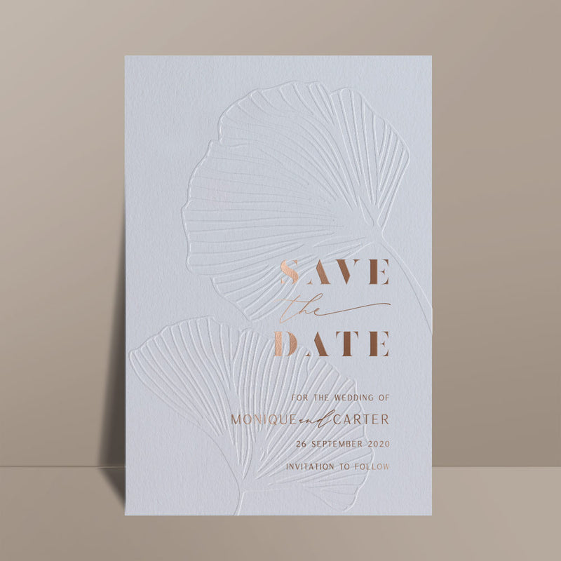blue save the date card blind letterpress