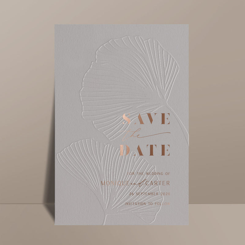 foil printed grey save the date card
