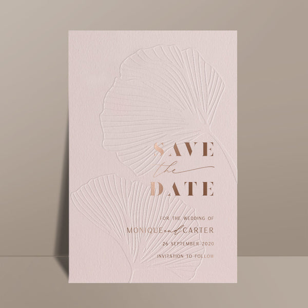 blush pink save the date card