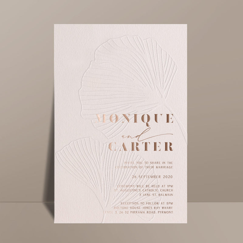 blind letterpress foil printed wedding invitation
