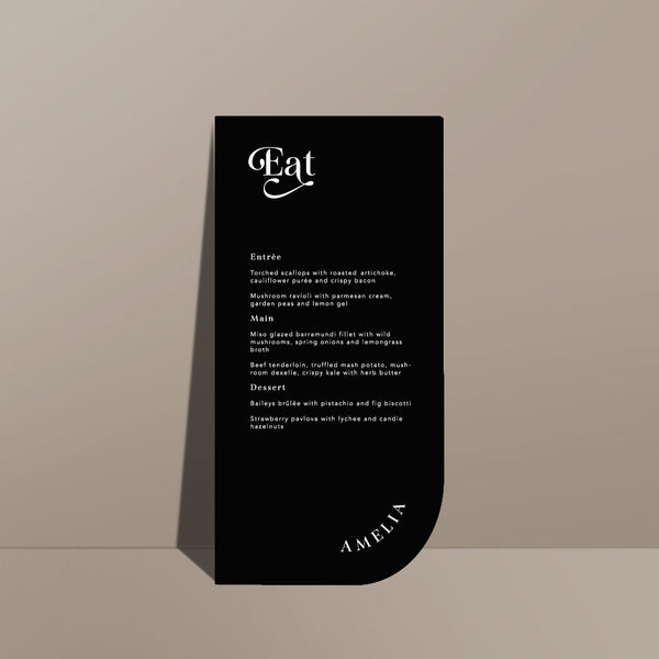 black menu card