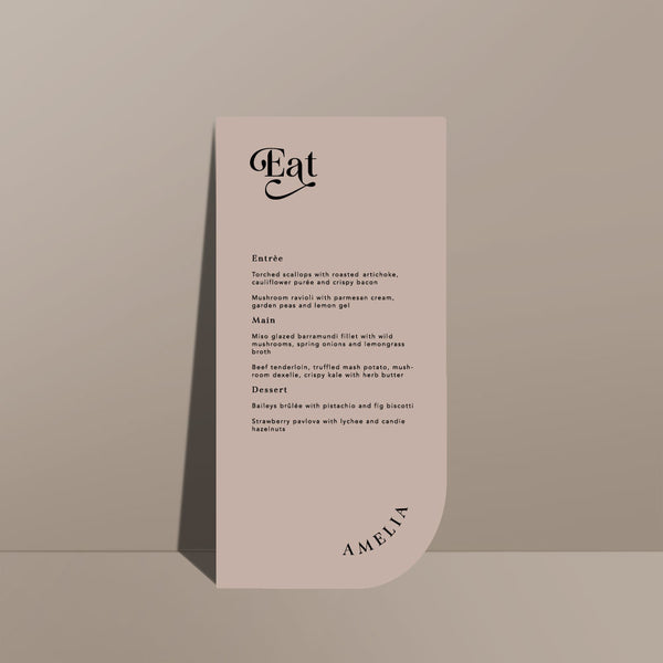 nude rectangular menu card