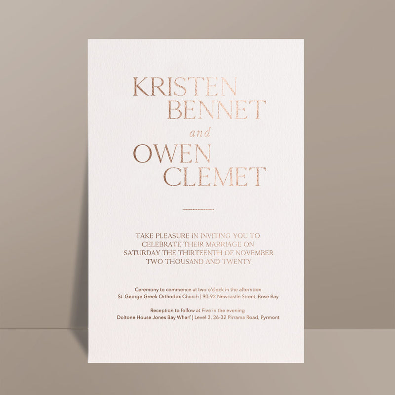 modern rose gold foil printed wedding invite