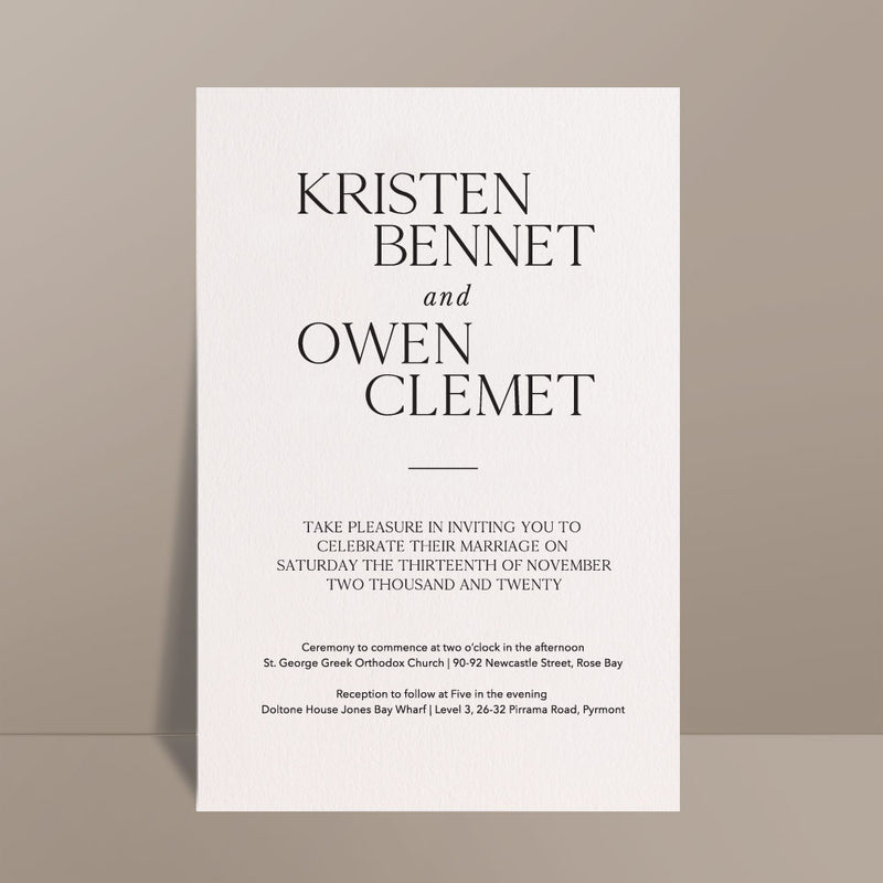white modern bold wedding invitation