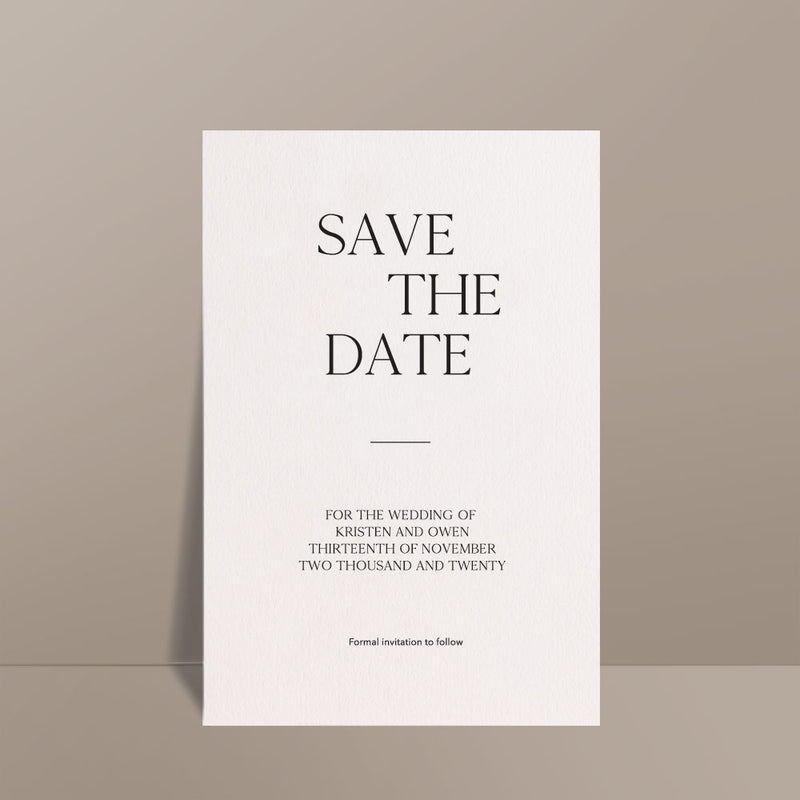 ivory modern minimalistic save the date card