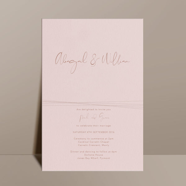 blush pink modern elegant calligraphy wedding invite
