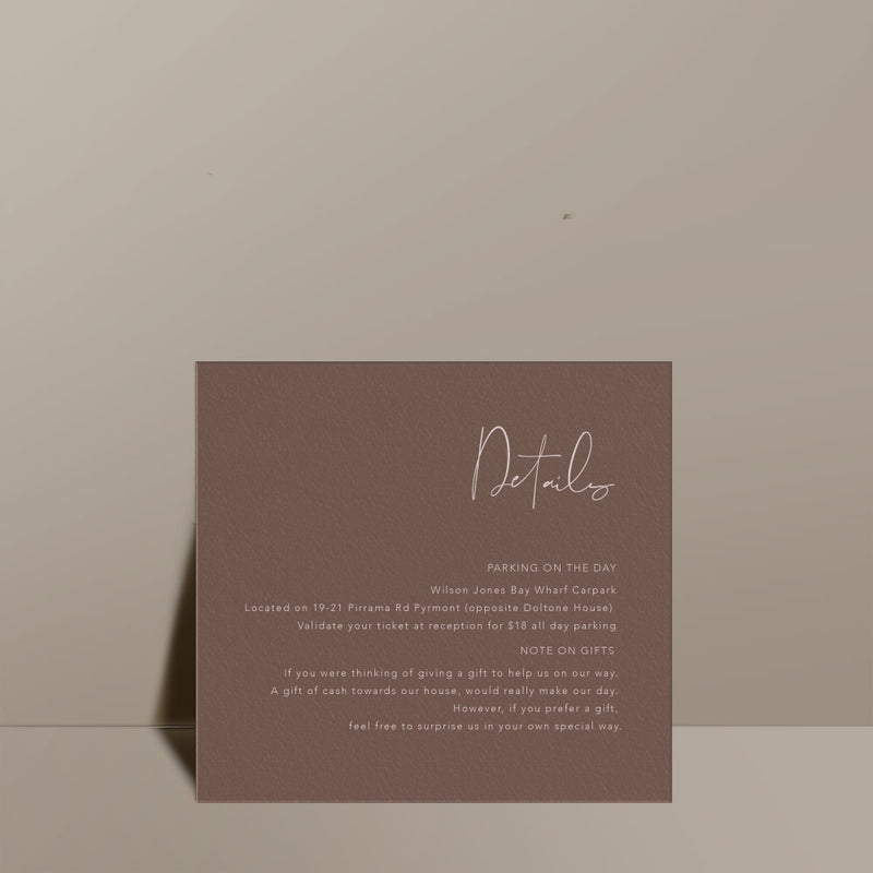 nubuck brown information card