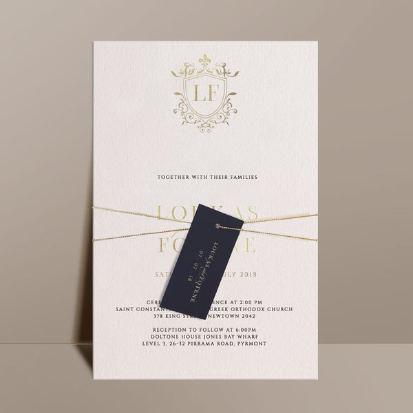 traditional grand foil printed wedding invitations swing tag