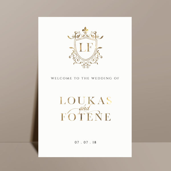 white welcome sign gold calligraphy