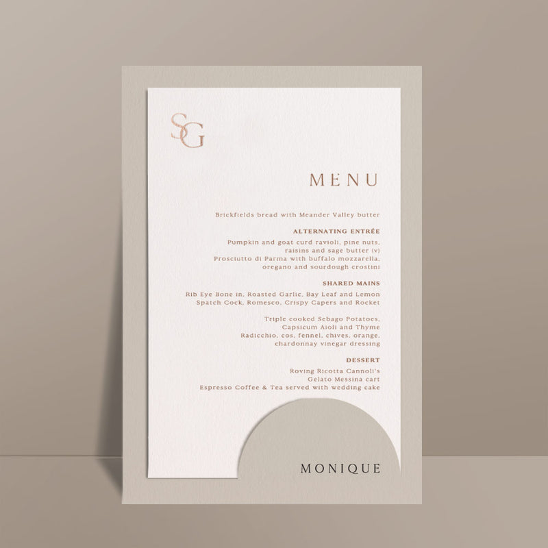 foil printed menu card with almond pocket